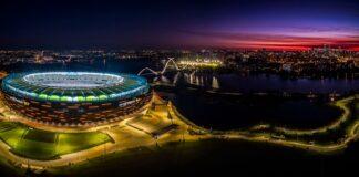optus stadium at night
