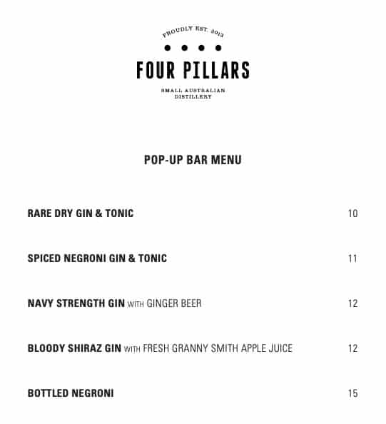 four pillars pop up menu