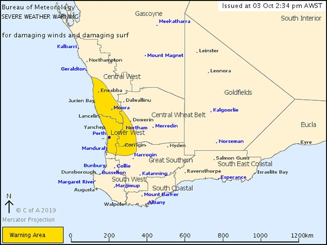 perth weather severe weather warning