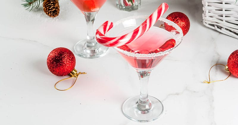 Christmas pink peppermint martini