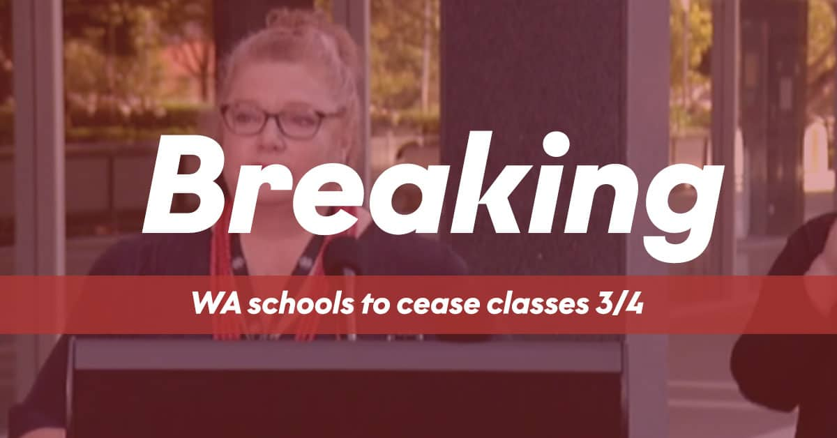 Breaking News WA Schools To Close